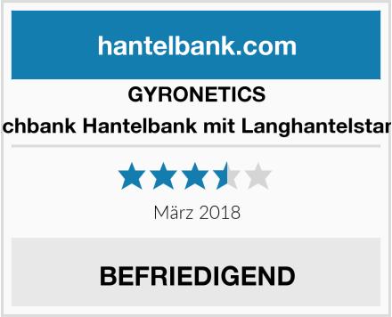 GYRONETICS E-Series Flachbank Hantelbank mit Langhantelstangen-Ablage Test